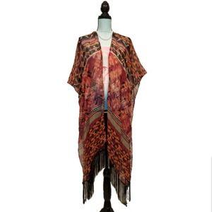 Faded Glory Kimono Tribal Fringe Scarf Wrap Wine